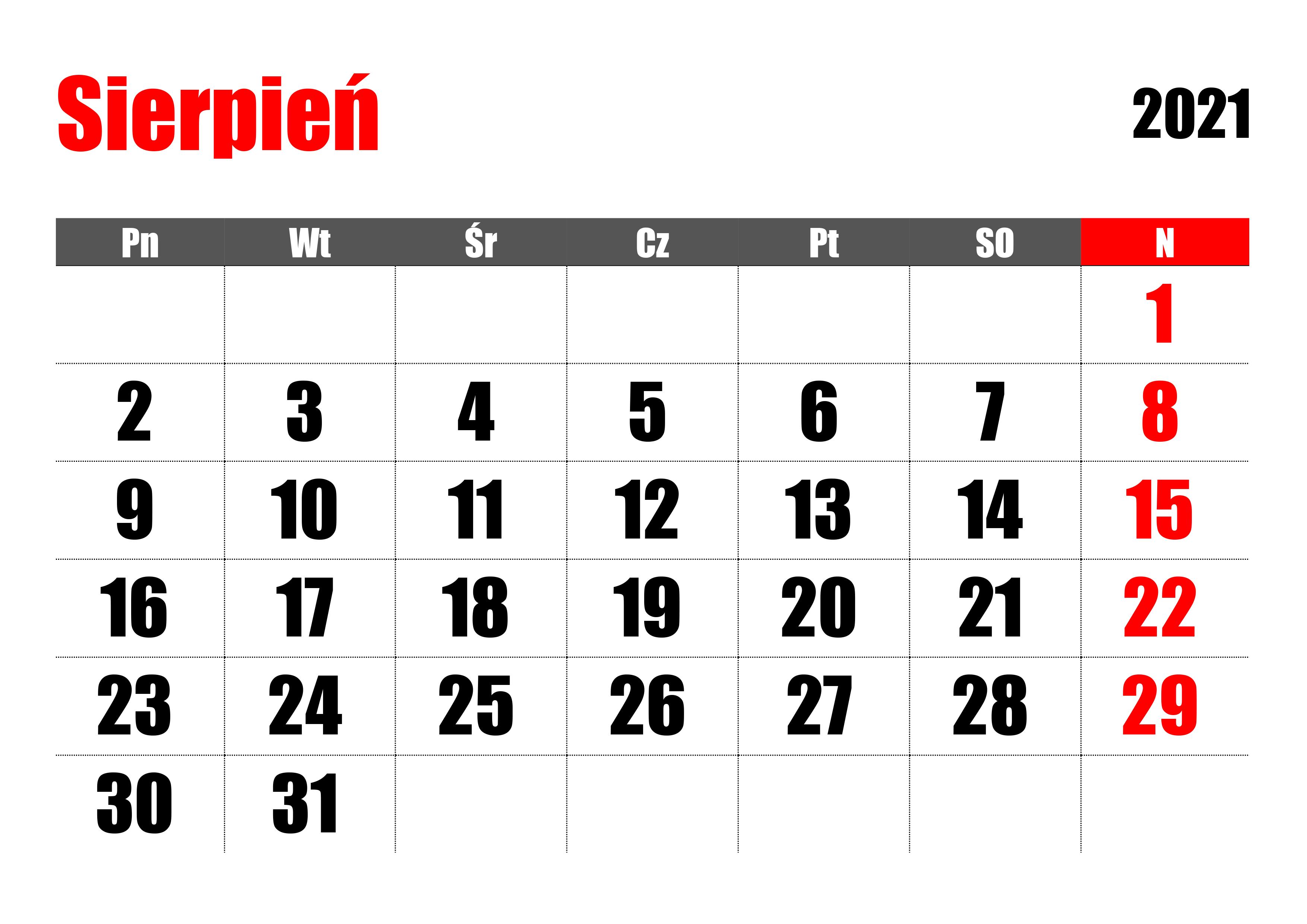 Kartka z kalendarza - sierpień 2021